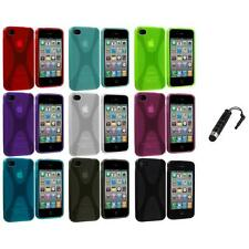 X-Line TPU Rubber Skin Case Cover+Stylus Plug for iPhone 4 4S 4G Accessory