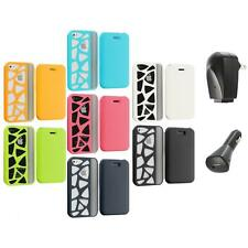 For iPhone 4 4G 4S Wallet Carved Out Design Hard Color Case Cover+2X Chargers