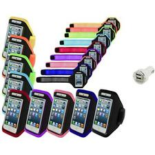 Color Premium Full Running Sports Gym Armband Case+Dual Charger For iPhone 5 5S