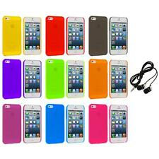 Ultra Thin 0.5mm Color Transparent Matte Case Cover+Headphones for iPhone 5 5S