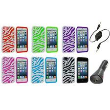 Zebra Hybrid 2-Piece Hard/Soft Case Skin Cover+Aux+Charger for iPhone 5 5S 5th