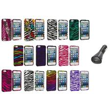 Zebra Design Hard Snap-On Rubberized Case Cover+Car Charger for iPhone 5 5S
