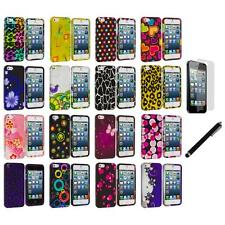 Color Design Hard Snap-On Rubberized Case Cover+LCD Film+Stylus for iPhone 5 5S