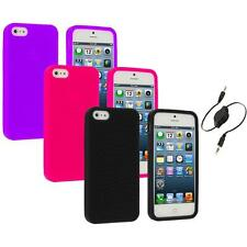 Color Silicone Earth Swirl Rubber Skin Case Cover+Aux Cable for iPhone 5 5S