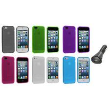 TPU Mesh Perforated Color Rubber Skin Case Cover+Car Charger for iPhone 5 5S 5th