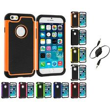 For Apple iPhone 6 (4.7) Hybrid Shockproof Rugged Hard Case Cover Aux Cable