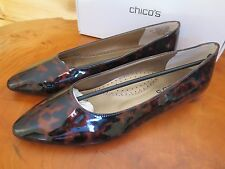 NIB Chicos Womens Pointed Toe Tortoise Shell Patent Leather Flats 9 & 10 $129