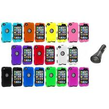 DELUXE COLOR BLACK CASE FOR IPOD TOUCH 4 4G 4TH GEN+PROTECTOR+CAR CHARGER