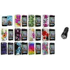 Flower Design Hard Case Cover Accessory+2.1A Charger for iPod Touch 4th Gen 4G 4