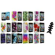 Flower Design Hard Case Cover Accessory+Cable Wrap for iPod Touch 4th Gen 4G 4