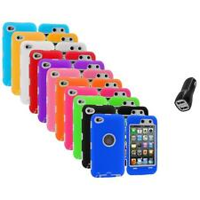 Deluxe Hybrid Case Cover+Protector+2.1A Charger for iPod Touch 4th Gen 4G 4