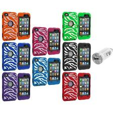 Hybrid Zebra Deluxe Case Cover+LCD+USB Charger for iPod Touch 4th Gen 4G 4