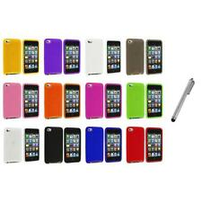 Color Silicone Soft Case Cover+Metal Pen for iPod Touch 4th Generation 4G 4