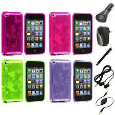 Butterfly Flower TPU Rubber Case Cover+Accessories for iPod Touch 4th Gen 4G 4