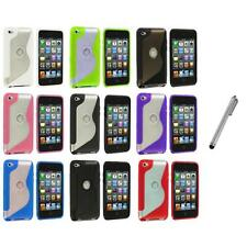 TPU S-Line Deluxe Rubber Case Cover+Metal Pen for iPod Touch 4th Gen 4G 4