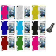 Hybrid Mesh Hard/Soft Skin Case Cover+Car Charger for iPod Touch 5th Gen 5G 5