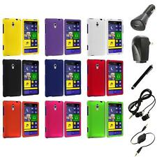 For HTC Windows Phone 8XT Color Hard Snap-On Rubberized Case Cover+Accessories