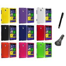 For HTC Windows Phone 8XT Color Hard Snap-On Rubberized Case Cover+Charger+Pen