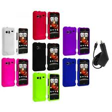 Color Hard Rubberized Case Cover+Charger for HTC Droid Incredible 6300