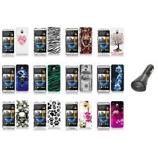 For HTC One Mini M4 Design Hard Snap-On Case Skin Cover Accessory+Car Charger