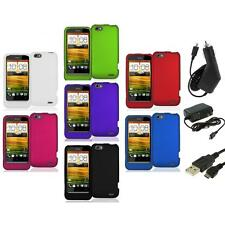 Color Hard Snap-On Rubberized Case Cover Accessory+3X Chargers for HTC One V