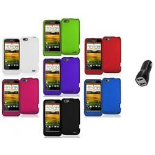 Color Hard Snap-On Rubberized Case Cover Accessory+2.1A Charger for HTC One V