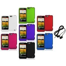 Color Hard Snap-On Rubberized Case Cover Accessory+Headphones for HTC One V