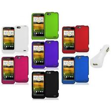 Color Hard Snap-On Rubberized Case Cover Accessory+White Charger for HTC One V