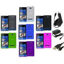 Color TPU Plain Case Cover Accessory+3X Chargers for HTC Windows Phone 8S