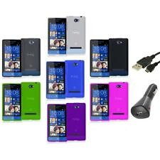 Color TPU Plain Case Cover Accessory+Charger+USB for HTC Windows Phone 8S