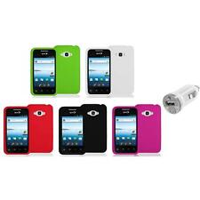 Silicone Color Soft Gel Case Cover+USB Charger for LG Optimus Elite LS696 Phone