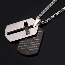 316L Stainless Steel Square Cross Pendant Bible Necklace 18K Gold Plated Jewelry