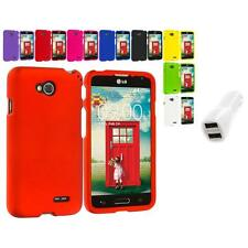 For LG Optimus L90 Hard Snap-On Color Matte Case Cover Car Charger