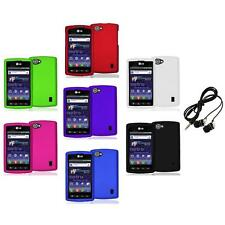 Color Hard Snap-On Skin Case Cover+Headphones for LG Optimus M+ Plus MS695