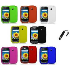 Silicone Rubber Color Gel Skin Case Cover+Stylus Plug for LG Net10 Optimus Net
