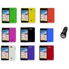 For LG Spirit 4G MS870 Color Hard Snap-On Rubberized Case Cover+2.1A Charger