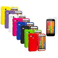 For Motorola Moto G Hard Rubberized Snap-On Case Cover Screen Protector