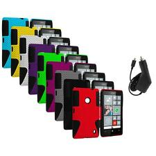 For Nokia Lumia 520 Hybrid Mesh Hard/Soft Silicone Color Case Cover+Charger
