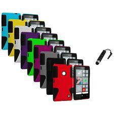 For Nokia Lumia 520 Hybrid Mesh Hard/Soft Silicone Color Case Cover+Stylus Plug