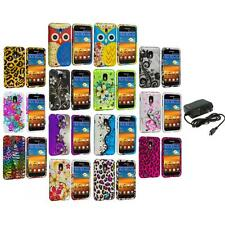 Design Hard Rubberized Case Cover+Wall Charger for Samsung Sprint Galaxy S2 S II