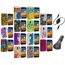 Design Hard Rubberized Case Cover+Aux+Charger for Samsung Sprint Galaxy S2 S II
