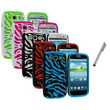 Hybrid Zebra Color Hard Soft Case Cover+Metal Pen for Samsung Galaxy S3 S III