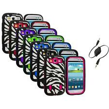 Zebra Hybrid Case Cover+Built Protector+Aux Cable for Samsung Galaxy S3 S III