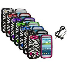 Zebra Hybrid Case Cover+Built Protector+Headphones for Samsung Galaxy S3 S III