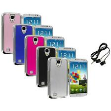 Brushed Aluminum Chrome Metal Case Cover+Headphones for Samsung Galaxy S4 S IV