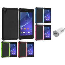 For Sony Xperia Z2 Hybrid Rugged Hard Case Cover Accessory USB Charger