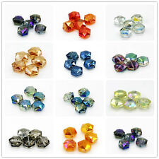 5 pcs 15mm Faceted Hexagon Glass Crystal Charm Loose Spacer Beads