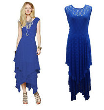 Women Long Maxi Asymmetric Lace Formal Evening Cocktail Party Plus Size Dress