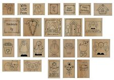 Home & Heart Wood Mounted Rubber Stamps - Multi List Various Designs inc Words