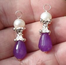 Pink Gold Pearls & Jade INTERCHANGEABLE Earring Charms With or Without Wires